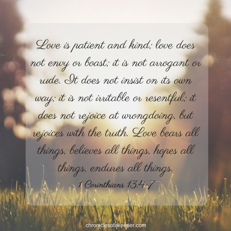 Love is patient and kind; love does not envy or boast; it is not arrogant 5or rude. It does not insist on its own way; it is not irritable or resentful;b 6it does not rejoice at wrongdoing, but rejoices with the truth